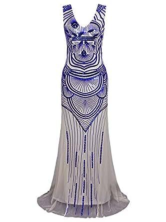 Vijiv 1920s Long Prom Dresses Sequin Beads Mermaid Great Gatsby Theme Wedding Party Dress