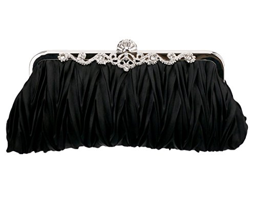 Charming Tailor Evening Bag and Clutch for Women Classic Satin Pleated Wedding Purse (Black) (Frame Elegant Clutch)