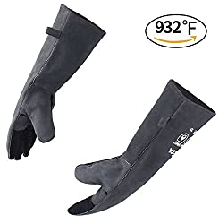 RAPICCA Barbecue Grill Gloves, 932°F Extreme Heat Resistant Welding Gloves Cooking/Mitts for Oven/Baking/Fireplace/Stove/Pot Holder/Tig Welder/Mig -Cotton Lining 16 inches Extra Long Sleeve – Gray
