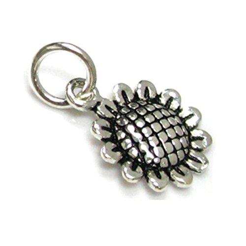 (Dreambell 2 pcs .925 Sterling Silver Sunflower Flower Dangle Charm Pendant / Findings / Antique)