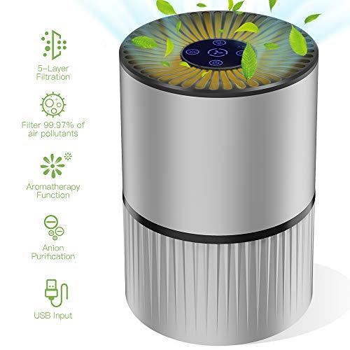 🥇 Duomishu Purificador de Aire para Hogar Oficina 4 en 1 Filtro HEPA Carbón Activado
