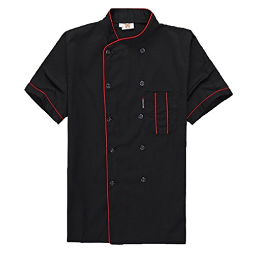 Short Sleeve Chef's Jacket Kitchen Cook Coat Stripe Uniforms, Black, Size Small by Seven Star