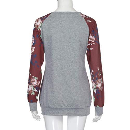 MEIbax Plus Tama?o Mujeres Oto?o Manga Larga Impresišn Floral O-Neck Camisa Blusa Casual Tops Flora Camisetas para Personalizar Camisetas promocionales ...