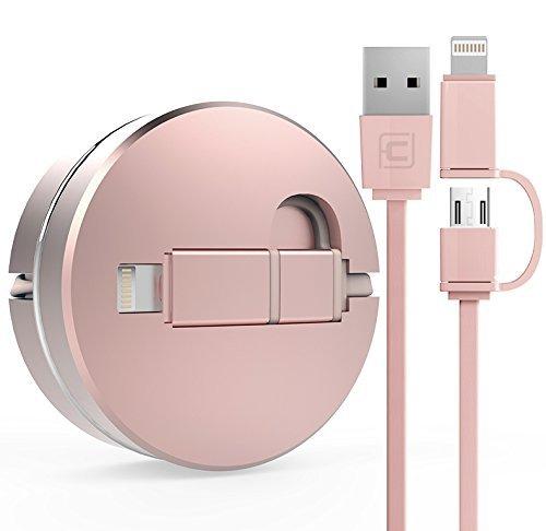16 opinioni per Cavo Retrattile USB 2 in 1 per IOS e Android [Garanzia a Vita] Cavo per iPhone 7