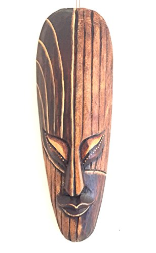 OMA African Mask Wall Hanging Decor Luck and Fortune Statue Mask - Hand Carved ()