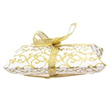Sweets Candy Pillow Boxes Gift Box Wedding Party Favor Ribbon Pack of 50 - Gold, 9 x 6.5 x 2.4cm