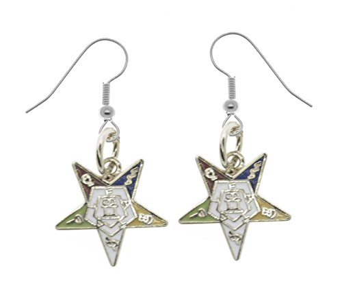 OES Dangling Hook Earrings with Silver Tone Order of the Eastern Star Symbolism - One Pair. Great O.E.S Gift.- One Pair. Great as an O.E.S Gift. (One Pair) (Dangle OES Earrings)
