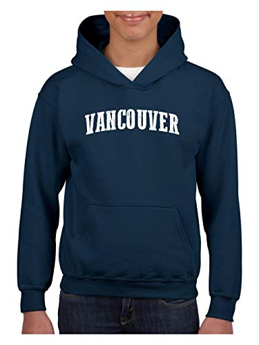 Vancouver Canada British Columbia Traveler`s Gift Unisex Hoodie for Girls and Boys (XLNB) Navy ()