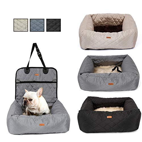MONIKI 2in1 Dog Car Seat Bed - Waterproof & Nonslip Cat Traveling Front Booster Seats, Removable cover & Cushion (grey): Amazon.co.uk: Pet Supplies