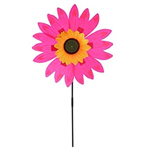 MagiDeal 36cm DIY Sunflower Windmill Wind Rotator Pinwheel Kid Outdoor Playground Toy Garden Lawn Decoration Kits - Rose Red, as described