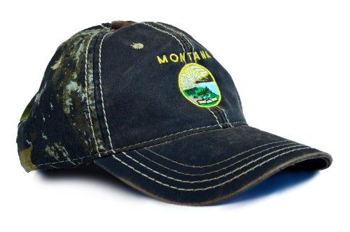 Montana State Flag Camouflage Hat / Camo Hunting Baseball Cap