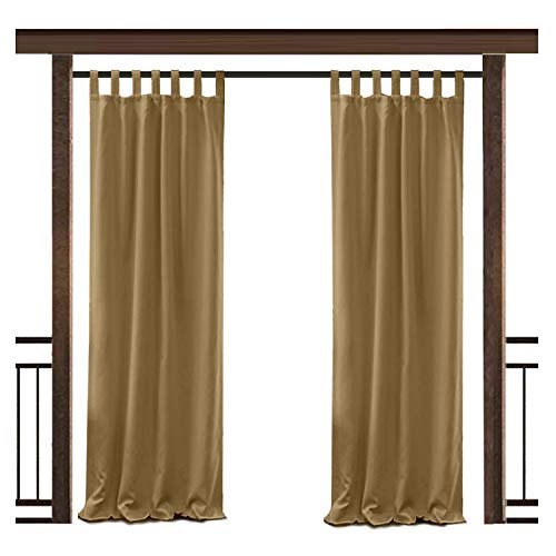 TWOPAGES Outdoor Waterproof Curtain Wheat Tab Top Drape, 50