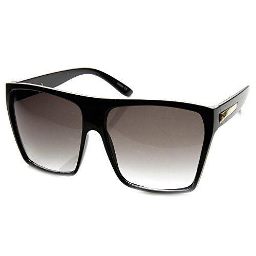 Super Oversized Sunglasses Unisex Flat Top Square Frame Fashion Wear Black - Super Sunglasses Oversized