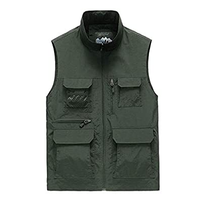 HDGTSA Men's Casual Outdoor Vest Solid Quick-Drying Waistcoat Jacket Tops Blouse at  Men's Clothing store