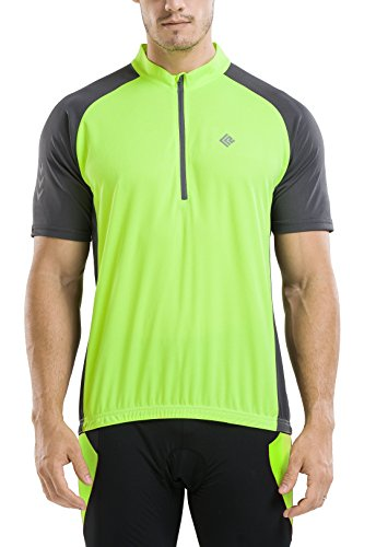 (KORAMAN Men's Reflective Short Sleeve Cycling Jersey with Zipper Pocket Quick-Dry Breathable Biking Shirt Green XL)