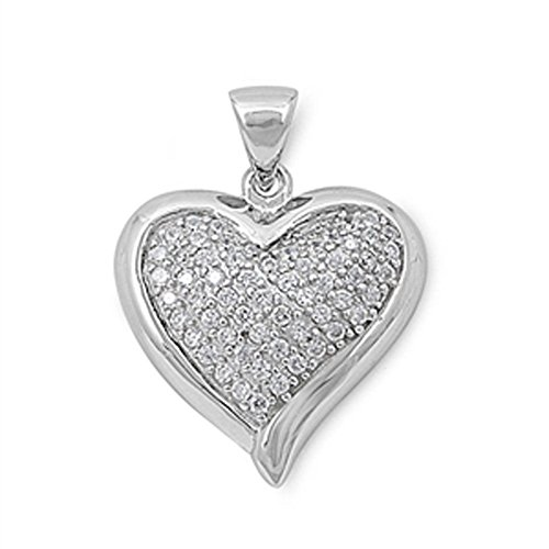 Heart Pendant Clear Simulated CZ .925 Sterling Silver Micro Pave Charm - Silver Jewelry Accessories Key Chain Bracelet Necklace Pendants -