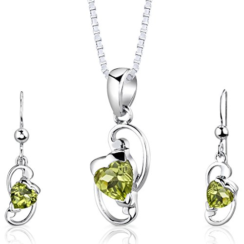 (Peridot Pendant Earrings Necklace Set Sterling Silver Heart Shape 1.75 Carats)
