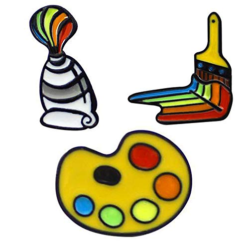 - PunkStyle Creative Plant Animal Fruit Enamel Brooches Pins for Women Girls Clothing Bag Decor (Artist Palette - 3pcs)