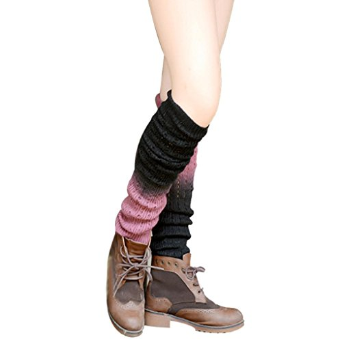 Ikevan Gradually Changing Color Leg Warmer Soft Socks Leggin Knitted Cashmere (Black) (Adult Leg Warmers)