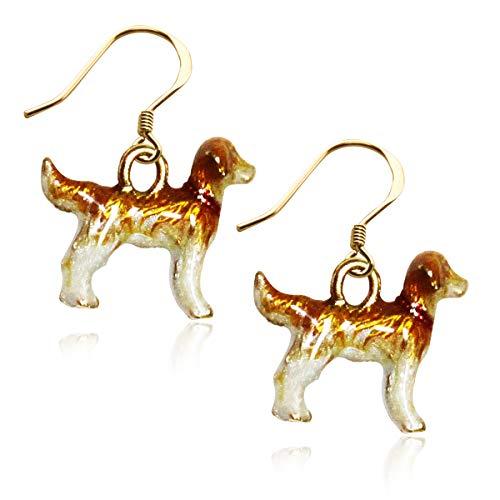 Golden Retriever Dog Charm Earrings in Gold (Golden Retriever, Gold)