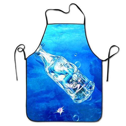 AianuqLuggage Aprons Underwater Mermaid Wallpaper Funny Restaurant Chef Bib Apron Adjustable Strap Professional for BBQ,Baking,Cooking Size 72CM x 52CM