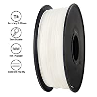 Anet 3D Printing Filament,340m Lenght 1.75mm PLA Biodegradable filament 3d printing Material,Dimensional Accuracy 0.02mm 2.2lbs Spool for 3D Printers&3D Pen-White from Anet