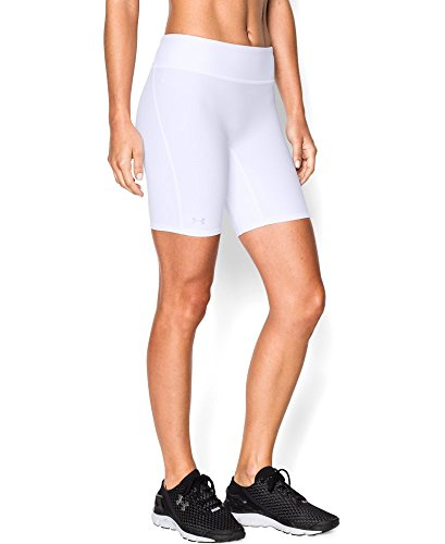 Under Armour Women's HeatGear Authentic Long Shorts, White/S