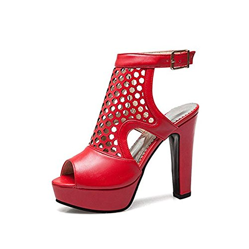 Ankle for Sandals Hollow Buckle Strap Women Pumps Platform Red Peep Heels Dress Shoes Toe T Sexy Party JULY Chunky n7CqfpBw