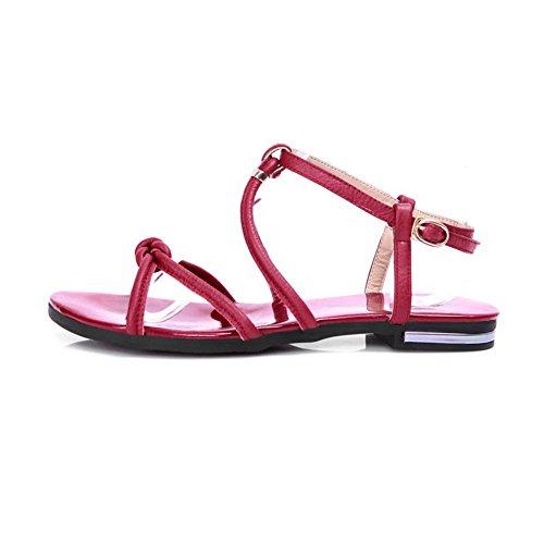 Amoonyfashion Kvinna Inga Hälen Mjukt Material Fast Spänne Öppen Sandaletter Röda