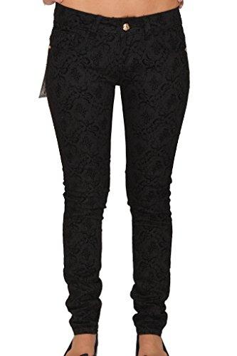 Jeans nbsp;8 Ferosh Womens Pantalones Floral Elegante Patrón nbsp;12 nbsp;10 Elástico Fashions Ladies Negro 6 w4qBwnzPW