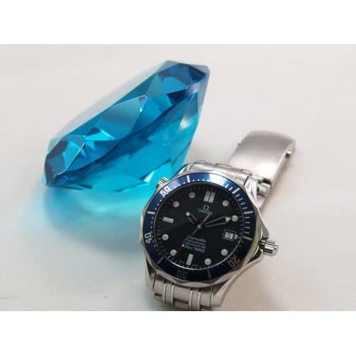 80mm Aqua Blue Crystal Diamond Jewel Paperweight for sale