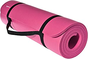 AmazonBasics 1/2-Inch Extra Thick Exercise Mat with Carrying Strap, Pink