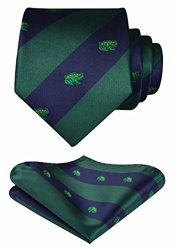 HISDERN Frog Tie Handkerchief Prom Party Men's Necktie & Pocket Square Set Navy Blue/Green ()