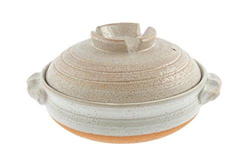 Kotobuki 190-994D Donabe Japanese Hot Pot Shigaraki Brushstroke Design Casserole Pan (Serves 4 to 5), White by Kotobuki