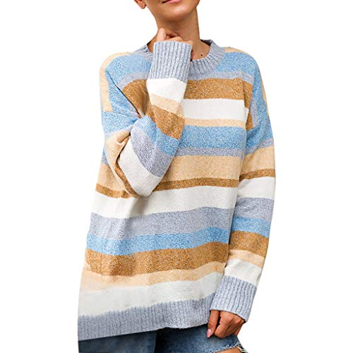 ALLYOUNG Pullover Plus Size Women Knitted Patchwork Stripe Long Sleeve O-Neck Sweater Top (Blue, L)