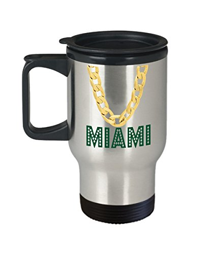 Miami Florida Travel Coffee Mug   14Oz Stainless Steel Tea Cup With Lid  Funny Scoreboard Fan Pride Novelty Holiday Christmas Gift