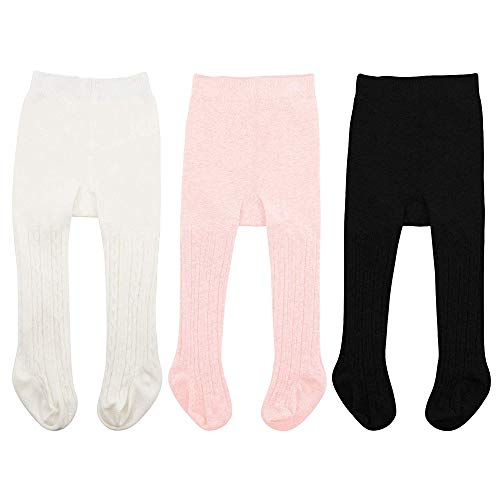 Durio Newborn Baby Clothing Clothes Seamless Baby Girls Tights Cable Knit Leggings for Babys Pantyhose Infant Socks 3 Pairs White & Black & Ballet Pink X-Large fits 2-4 Year