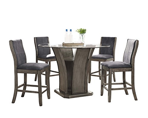 Abbey Avenue D-ISS-RC5P 5 Piece Issey Round Counter Dining Set-Table, Gray -