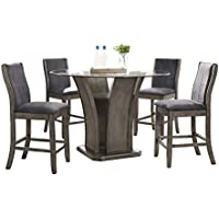 Abbey Avenue D-ISS-RC5P 5 Piece Issey Round Counter Dining Set-Table, Gray Wash