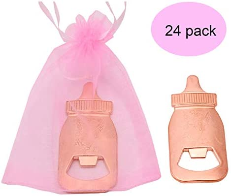24pcs Rose Gold Baby Bottle shaped Bottle Openers with 48 pack Pink Organza Bags Baby Shower Return Gifts Wedding Favors for Guests Party Favors Pink