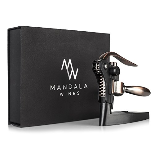 Rabbit Wine Bottle Opener Set: Bronze Metal Manual Wine Opening Accessories Tool Kit for Red, White or Rose Bottles with Elegant Portable Rabbit Opener, Black Foil Cutter, Spiral Corkscrew and Stand by Mandala Wines