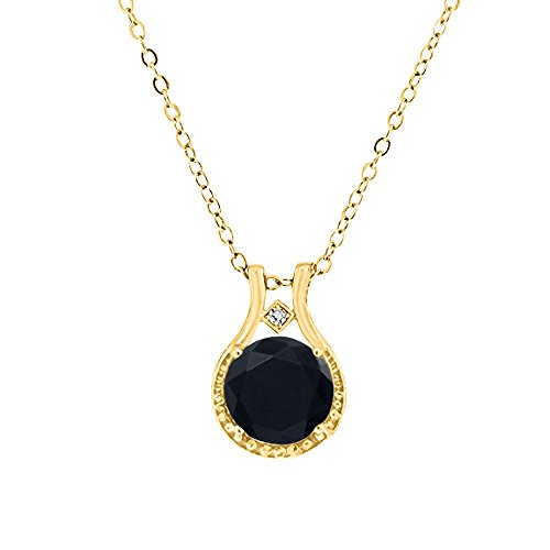 Voss+Agin Ladies Genuine Diamond and Black Onyx Halo Pendant (3.00 CTW) in 14k Yellow Gold Over Sterling Silver, 18'' Chain w/Spring Clasp