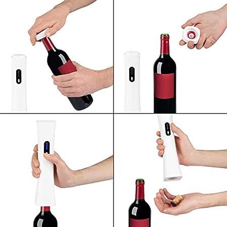 Balvi Sacacorchos eléctrico Wine Minnim Color Blanco con descapsulador y Cable USB Batería Interna Recargable Plástico ABS