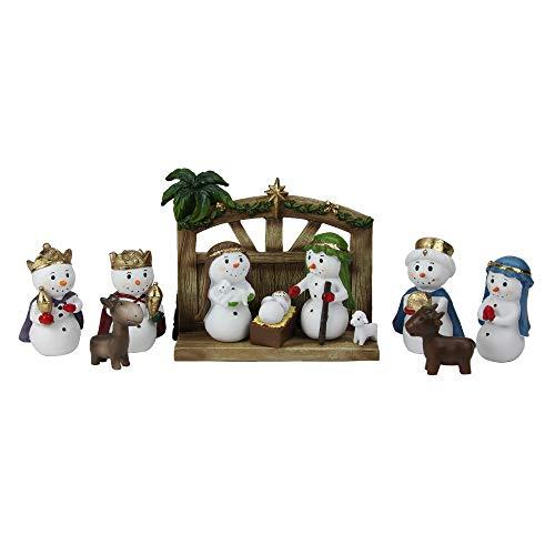 red Snowman Christmas Nativity Tabletop Set 6.5