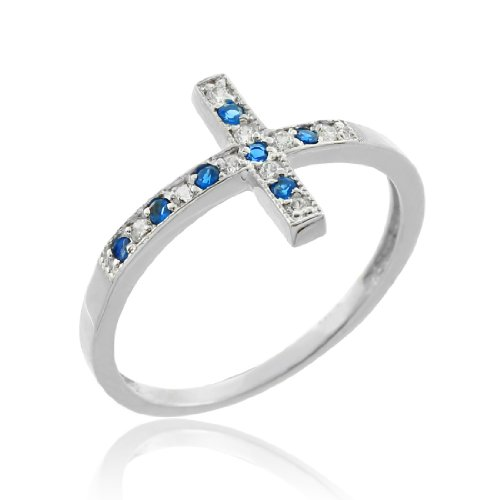 10k white gold sideways cross ring with blue