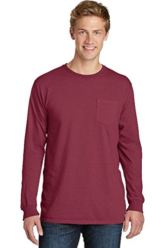 Port & Company Essential Pigment-Dyed Long Sleeve Pocket Tee PC099LSP Merlot (Pigment Dyed Cotton Pocket Tee)