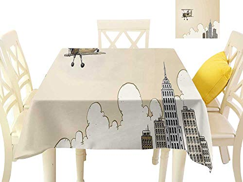 cobeDecor Elegant Waterproof Spillproof Polyester Fabric Table Cover Cartoon Style Biplane Modern City Clouds High Rise Buildings W36 x L36, Indoor Outdoor Camping Picnic ()