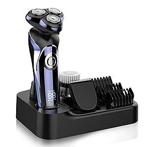 Electric Shaver Razor for Men, MANLI 5 in 1 Rotary Shaver Beard Trimmer, Wet Dry Men Shaver Waterproof USB Fast Charging, Cordless Beard, Nose, Hair Trimmer, Best Gift for Dad, Boyfriend