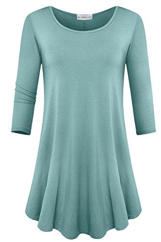 JollieLovin Womens 3/4 Sleeve Loose Fit Swing Tunic Tops Basic T Shirt (Grayish Green, L)