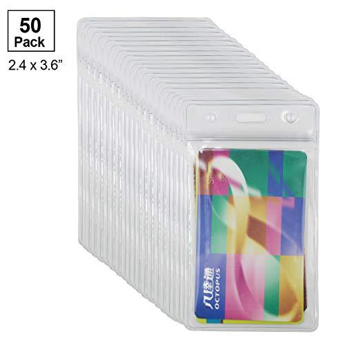 """PLAMAS Clear Plastic ID Badge Holders, Vertical Style Waterproof Name Tag Holders (50Pack, Standard 2.4x3.6"""")"""